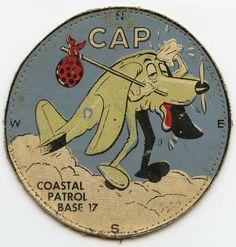 Very Rare Aug 1942 - Aug 1943 USAAF Civil Air Patrol (CAP) Coastal Patrol Base 17 Patch Tired Cartoon, Cartoon Plane, Patch Adams, Civil Air Patrol, Vintage Packaging, Cool Patches, Antiques Online, Semper Fi, United States Army