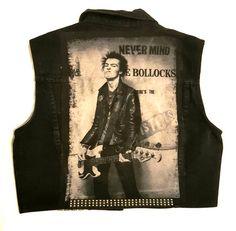 PUNK Sid Vicious on vintage vest-size medium womens Vintage Denim, Vest, Punk, Medium, Clothing, Tops, Women, Outfits, Outfit Posts
