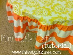 """Mini Table Cloth {tutorial}  Or, how to make those too-small tablecloths fit my ginormous dinner table!  Great inspiration for gathered &/or perhaps a more tailored """"un-gathered"""" version???"""