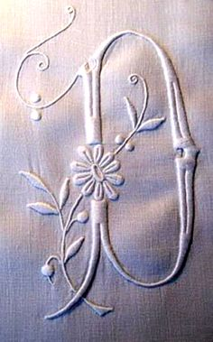 ⌖ Linen & Lace Luxuries ⌖  D embroidered monogram