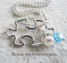 Autism Awareness Jewelry - Puzzle Piece Charm Necklace - Sterling Silver - Genuine Freshwater Pearl - Swarovski Crystal