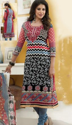 Select the Beautiful Bollywood Latest Black Cotton Churidar Kameez #PrintedDresses Online.  #Price INR- 2362 Link- http://alturl.com/yxqsg