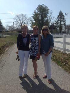 Susan with the models dressed up and ready to go. #polkadots #spring #dresses #jackets