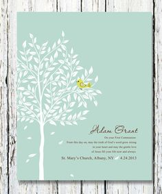 Custom First Communion Gift for Girl or Boy, Personalized with Names, Date, Gift for Godchild from Godparents 8 x 10 Custom colors and fonts on Etsy, $20.00