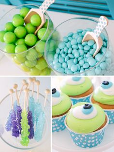 Monsters Inc Candy Buffet II Petite Party Studio Monster University Birthday, Monster Inc Party, Monster Birthday Parties, 3rd Birthday Parties, Birthday Ideas, Monsters Inc Baby Shower, Monster Baby Showers, Party Monsters, Baby First Birthday