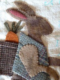 ✄ A Fondness for Felt ✄ Bunny - Cottonwood Lane Primitives Wool Applique Patterns, Felt Applique, Quilting Projects, Sewing Projects, Sewing Crafts, Felted Wool Crafts, Felt Crafts, Wool Quilts, Diy Inspiration