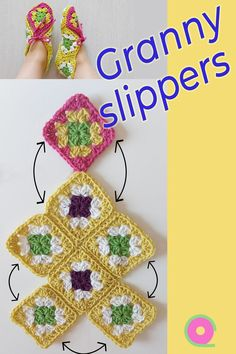 Crochet Shoes Pattern, Crochet Baby Booties, Crochet Slippers, Crochet Granny, Knit Or Crochet, Crochet Stitches, Crochet Hats, Granny Square Slippers, Knitting Patterns