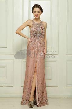 Abiti in Magazzino-Tencel mano di perline abito da sera rosa scuro