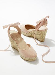 WESLEY Nude espadrilles with closed toe Espadrille Wedges Closed Toe, Closed Toe Wedges, Closed Toe Sandals, Espadrille Sandals, Wedge Sandals, Miss Selfridge, Mode Shoes, Shoes Heels, Tie Up Espadrilles
