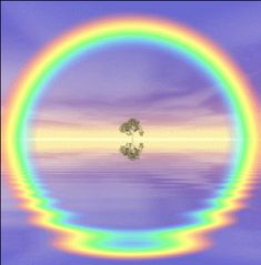 Reflection causes circular rainbow