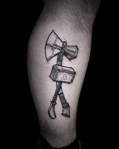 Thor Hammer Tattoo, Thor Tattoo, Avengers Tattoo, Marvel Tattoos, Cool Tattoos For Guys, Unique Tattoos, Line Tattoos, Sleeve Tattoos, Axe Tattoo