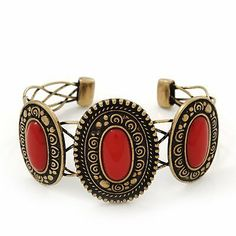 Vintage Burn Gold Hammered Cuff Bangle With Red Stones - Adjustable Avalaya, http://www.amazon.com/dp/B008FD9KXW/ref=cm_sw_r_pi_dp_mnaWqb02WA652