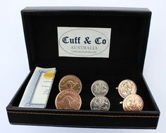 The 3 Pair Set includes all our best selling Australian Coin Cufflinks at a fraction of the price. Includes sixpence, two cent, and halfpenny cufflinks. Price AUD 89.95