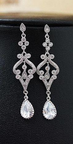 Vintage Style Cubic Zirconia Bridal Earrings from EarringsNation Victorian Style Weddings Vintage Style Weddings Classic Weddings