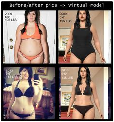Before/after pics with virtual model.