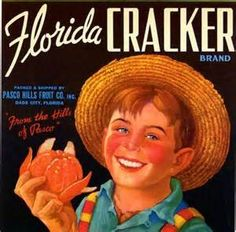 Dade City Florida Cracker Boy Orange Crate Label Art Print - Florida Citrus Fruit Crate Label Art Prints - Fruit and Vegetable Crate Label Art Prints Dade City Florida, Old Florida, Vintage Florida, Florida Springs, Florida Style, Tampa Florida, Central Florida, Florida Keys, Vintage Art Prints