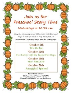 October 2016 Story time topics