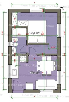 Why put a wall there? Does anyone want the dinning table on top of the couch? Mini House Plans, House Layout Plans, Small House Plans, House Floor Plans, Small Studio Apartment Design, Studio Apartment Layout, Small Space Interior Design, Hotel Floor Plan, Casa Loft