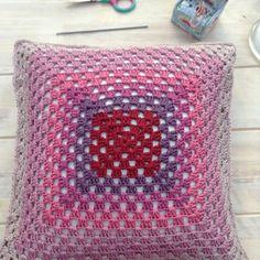 #crochet granny square cushion by franloveswool - 100 inspiring Crochet Photos