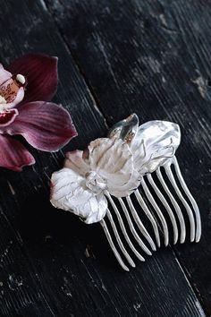Orchidee Blume Kamm Sterling silber-Haar-Kamm von TheManerovs