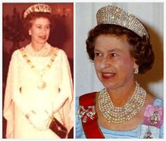 The demi-parure was a gift to the Queen from Sheikh Khalifa bin Hamad Al Thani, the Emir of Qatar, during her 1979 visit to the country and she wore it during the trip (above, left).