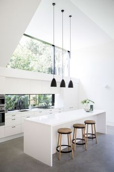 . [L]  - TOTALLY STUNNING, LOVE THIS AWESOME KITCHEN, WITH FLOOR TO CEILING WINDOWS, FABULOUS BENCH WITH TIMBER STOOLS, SUPERB BLACK HANGING LIGHT FIXTURES & DECOR!