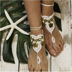 Feel spirited wearing our crochet Boho gypsy barefoot sandals. Your feet will want to dance all night wearing our handmade white soleless sandals with antique gold Boho charms. The perfect summer foot