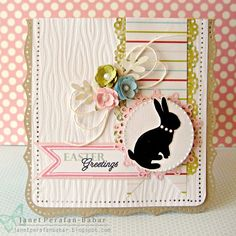 Shabby Easter Card Patterns...love the bunny silhouette idea. Love the teensy flowers over the twine bow and fine leaves.