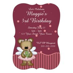 Customizable Teddy Bear Pink Fairy Princess Personalized Invites