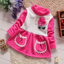 2016 Kids christmas outfits clothes Baby Girls winter thick warm Cute flower dresses children Cotton patchwork Top Dress for2-5Y(China (Mainland))