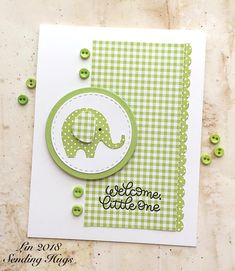 SSS Sweet Elephants baby card by Lin Baby Boy Cards Handmade, New Baby Cards, Greeting Cards Handmade, Tarjetas Stampin Up, Stampin Up Karten, Stampin Up Cards, Baby Shower Cards, Congratulations Card, Card Sketches