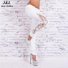 JLZLSHONGLE New Fall Women Slim Skinny Lace Crochet Stretch Denim Jeans Lace Hollow Out White Women Jeans Low Waist Pencil Pants