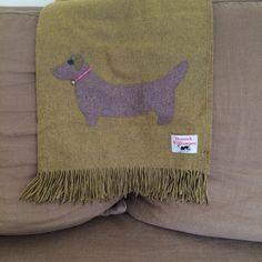 vineyard green lambswool dachshund throw