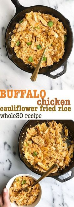 Buffalo Chicken Cauliflower Fried Rice (Whole30) - rachLmansfield