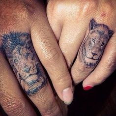 His and Hers Tattoos | Lion (male/female) face on ring finger