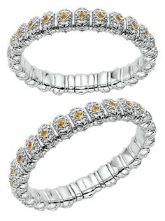 A silver and stainless steel Citrine bangle from Gabriel & Co.