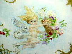 Antique Limoges Charger Plate Hand Painted Cherub Artist Signed  Presented is this beautiful, Limoges charger featuring a winged cherub with flowing
