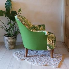 French Crapaud or 'toad' chair reupholstered in Sanderson Manilla and Designers Guild Ledro
