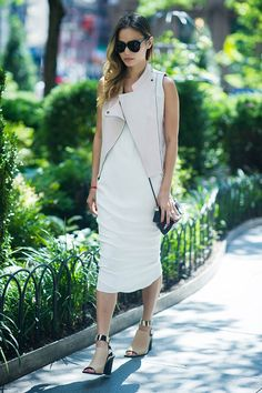 When you're working with a particularly slinky, sexy white dress, it can prove tricky to make it look anything other than, well, slinky and sexy. Try adding a blocky, sturdy heel and architectural leather vest to instantly toughen up your LWD.