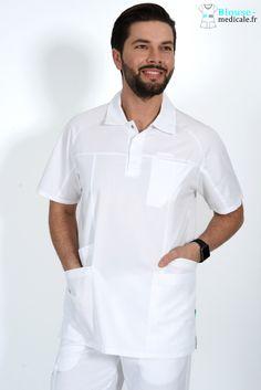 Tunique Médicale Homme LUCA collection Lafont Clemix 2.0 couleur Blanc Spa Uniform, Gramophone Record, Lafont, African Dresses For Women, Filipina, Scrubs, Beautiful Men, Chef Jackets, Mens Fashion