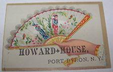 ANTIQUE VICTORIAN HOWARD HOUSE TRADE CARD PORT BYRON NY HOTEL BED BREAKFAST ROOM