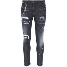 Dsquared2 'Skater' chain ripped jeans (14,530 MXN) ❤ liked on Polyvore featuring men's fashion, men's clothing, men's jeans, black, mens torn jeans, mens destroyed jeans, mens ripped jeans, mens patched jeans and mens distressed jeans