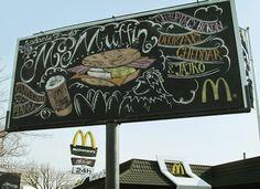 McDonald's Puts Up Giant Chalkboard As Billboard, Decorated By Graffiti Artist - DesignTAXI.com