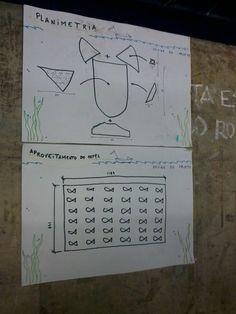 Cartazes afixados próximos a uma exposição de projetos para envólucros de garrafas. Nesse caso, a proposta ironiza elementos técnicos dos demais trabalhos, sendo uma brincadeira feita pelos próprios alunos.