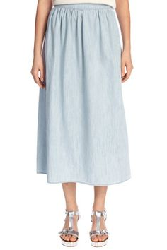 The full midi-skirt gets an on-trend twist in lightweight denim; featuring a high waist and zip fastening. Height of model shown: 5ft 10 inches/178cm. Model wears: UK size 10.