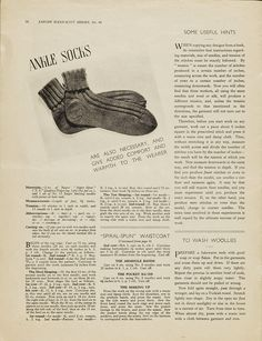 'Ankle socks'  Pattern for ankle socks  From Essentials for the Forces  Jaeger Handknit  1940s  So cool! er..Warm!
