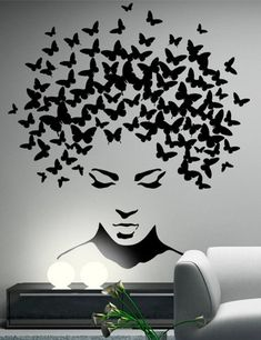 Butterflies in the head wall sticker, wall decal, butterflies wall decor, butterflies wall sticker removable vinyl wall art These stickers are made from high-quality german matt vinyl. Service life up to 7 years. Available in a choice of 35 colors. Creative Wall Painting, Wall Painting Decor, Creative Walls, Diy Wall Decor, Wall Paintings, Art Decor, Vinyl Decor, Painting Art, Durga Painting