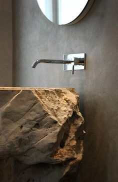 Latest Trends Reflecting Mysterious Attraction of Natural Stone Interior Design Bad Inspiration, Bathroom Inspiration, Interior Inspiration, Bathroom Ideas, Interior Ideas, Modern Sink, Modern Bathroom, Bathroom Taps, Bathroom Cabinets