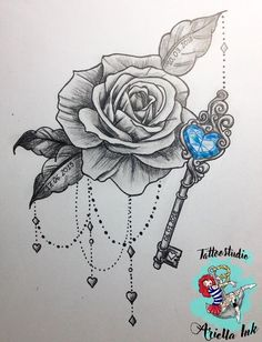 200 Pictures of Female Arm Tattoos for Inspiration - Photos and Tattoos - Flower Tattoo Designs - Rose und Schlüssel Design - Key Tattoo Designs, Design Tattoo, Flower Tattoo Designs, Tattoo Designs For Women, Flower Tattoos, Butterfly Tattoos, Key Tattoos, Body Art Tattoos, Tattoo Drawings