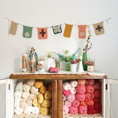 The colour co-ord yarn, the garden flowers, the vintage knickknacks, and then the handmade bunting knitting pattern. dottie angel's got style. Craft Party, Diy Party, Bunting Garland, Garlands, Granny Chic Decor, I Love Grannies, Yarn Storage, Craft Storage, Dottie Angel